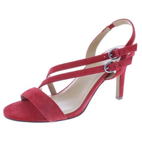 Naturalizer Womens Kayla Heel Sandals Slingback Open Toe - Hot Sauce Suede