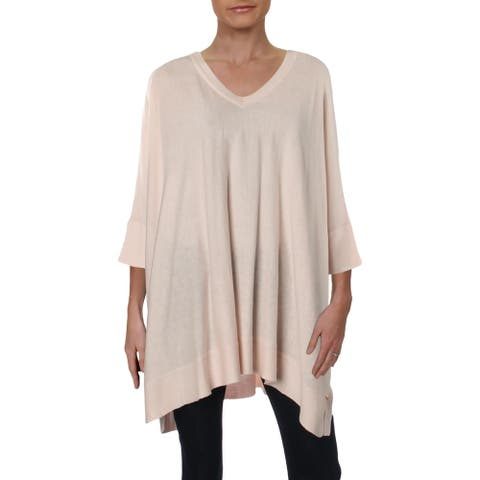 Donna Karan Womens Pullover Sweater Oversized Short Sleeve