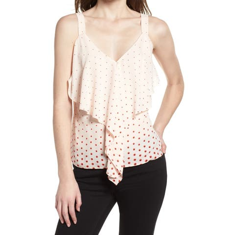 Trouve Red Pink Womens Size Large L Polka-Dot Draped Ruffle Top