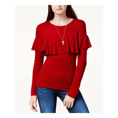 KENSIE Womens Red Long Sleeve Jewel Neck Top Size XL