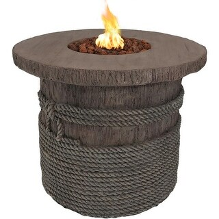 Sunnydaze 29-Inch Rope and Barrel Propane Gas Fire Pit Table with Lava Rocks