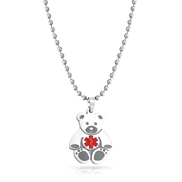 Bling jewelry kids steel teddy bear medical alert id pendant bling jewelry kids steel teddy bear medical alert id pendant necklace 14 inches aloadofball Images