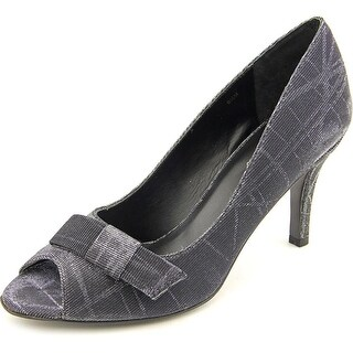 Vaneli Pimba Women Peep-Toe Leather Black Heels