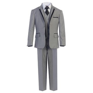 Boys Gray Tie Vest Pants 5 Pcs Wedding Special Occasion Tuxedo Suit