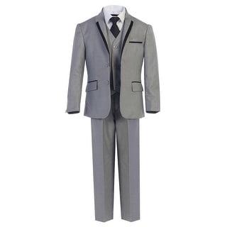 Little Boys Gray Tie Vest Pants 5 Pcs Wedding Special Occasion Tuxedo Suit