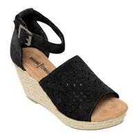 Minnetonka Women's Bell Wedge Sandal Black Suede