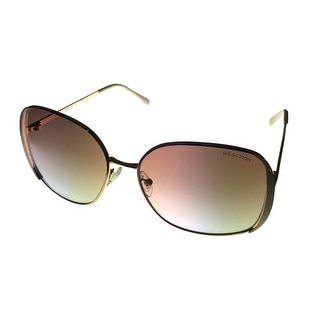 Kenneth Cole Reaction Womens Square Gold Metal Sunglass, Gradient Len KC1188 32F - Medium