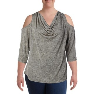MSK Womens Plus Blouse Metallic Drapey (3 options available)