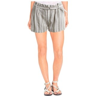 Aqua Womens Shorts Linen Striped
