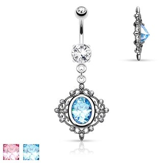 Oval CZ Centered Vintage Filigree Design Dangle 316L Surgical Steel Belly Button Rings