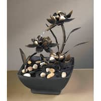 "9"" Contemporary Multi-Tiered Asian Flower Indoor Table Top Water Fountain - Black"