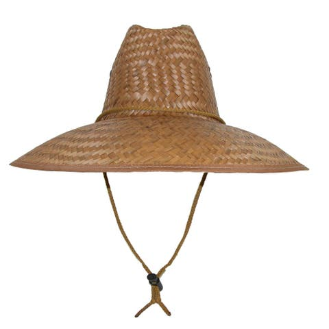 CTM® Palm Straw Lifeguard Hat with Wide Brim - Natural