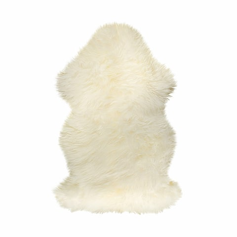2' x 3' Natural New Zealand Sheepskin Wool Area Rug in White - 2' x 3'