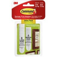 8 Medium Strips & 16 Large Strips - Command Picture Hanging Strips 24/Pkg