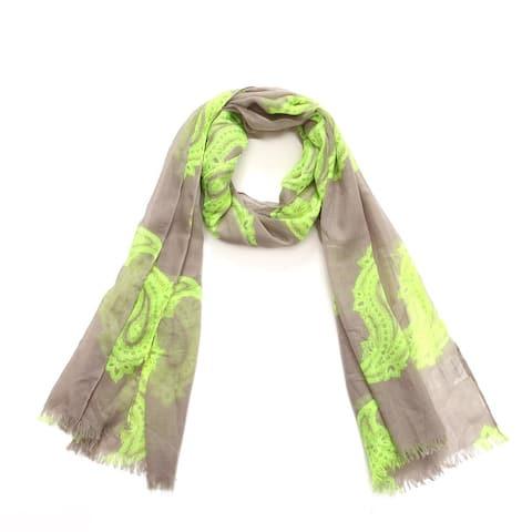 Richie House Women's Flourescent Green Paisley Scarf