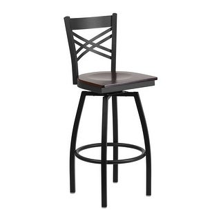 Offex HERCULES Series Black ''X'' Back Swivel Metal Walnut Wood Seat  Barstool
