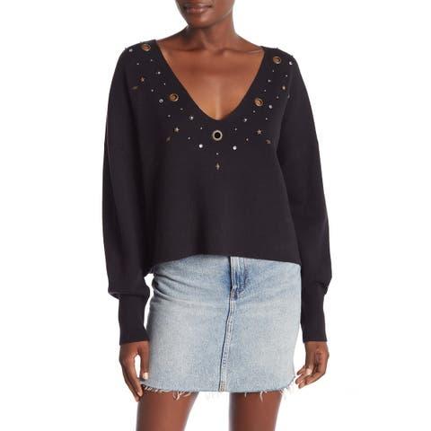 Wildfox Women's Blue Size XS Grommet Trim Long Sleeve V-Neck Sweater
