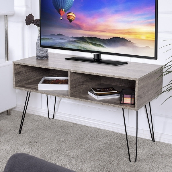 Shop Costway Tv Stand Wood Media Console Entertainment With Metal