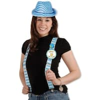 Club Pack of 12 Blue and White German Oktoberfest Adjustable Suspender Costume Accessories