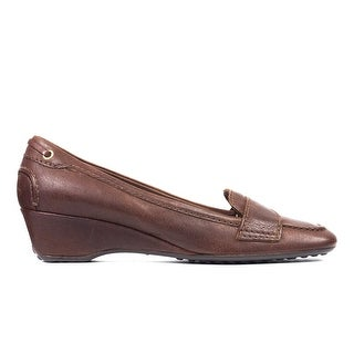 Original Car Shoe Women's Brown Leather Wedge Loafers