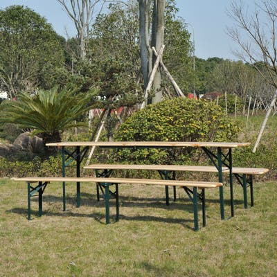 Outsunny Wooden Indoor/ Outdoor Folding Picnic Table Set