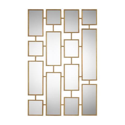 "Uttermost 09271 Kennon 32"" Wide Modern Urban Gold Collage Wall Mirror - Antiqued Gold Leaf"