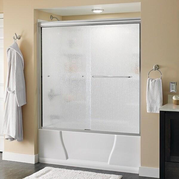 "Delta SD3927404 Classic 58-1/8"" High x 59-3/8"" Wide Sliding Semi Frameless Tub Door with Rain Glass - Chrome"
