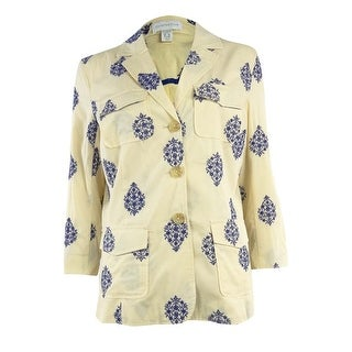 Charter Club Women's Embroidered Cotton Blazer - honied white - xs