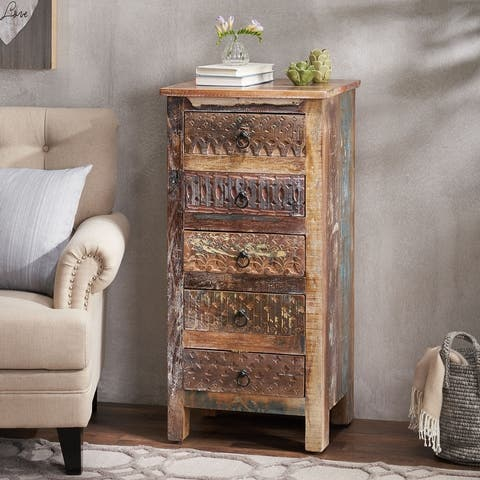 """Swint Boho Handcrafted 5 Drawer Chest by Christopher Knight Home - 20.00"""" W x 16.00"""" D x 41.00"""" H"""