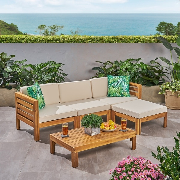 Cambridge Outdoor 5 Piece Acacia Wood Sofa Set by Christopher Knight Home. Opens flyout.