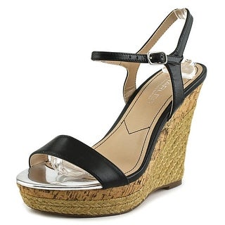Charles By Charles David Arizona Women Open Toe Leather Black Wedge Sandal