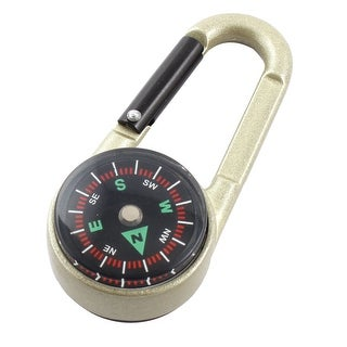 Unique Bargains Camping Hiking Travel Portable Thermometer Compass Carabiner Black Light Green