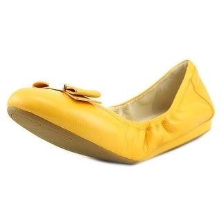Cole Haan Tali Bow Ballet Women  Round Toe Leather Yellow Ballet Flats
