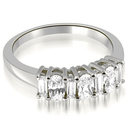 1.10 cttw. 14K White Gold Oval and Baguette Cut Diamond Wedding Band