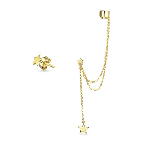 USA Patriotic Star Cartilage Ear Lobe Chain Ear Cuff Clip Wrap Stud Helix Earring Set 14K Gold Plate 925 Sterling Silver