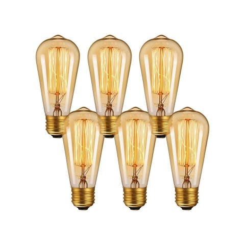 6 Pack Vintage Edison Bulbs, Dimmable 60W ST64 Bulbs, 2700K Soft White