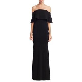 Badgley Mischka Off The Shoulder Ribbon Detail Evening Gown Dress Black - 14