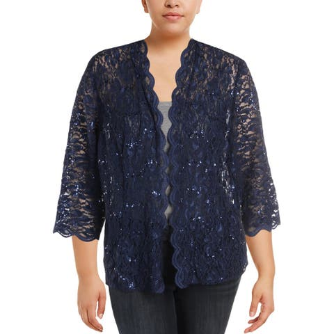Alex Evenings Womens Plus Topper Jacket Lace Sheer