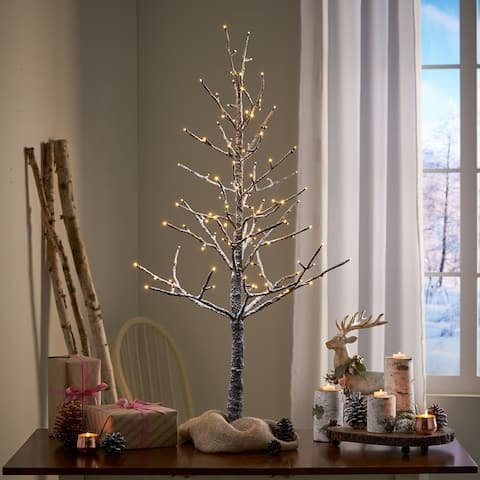 Yadira 4-foot Pre-Lit 114 Warm White LED Artificial Christmas Twig Tree by Christopher Knight Home