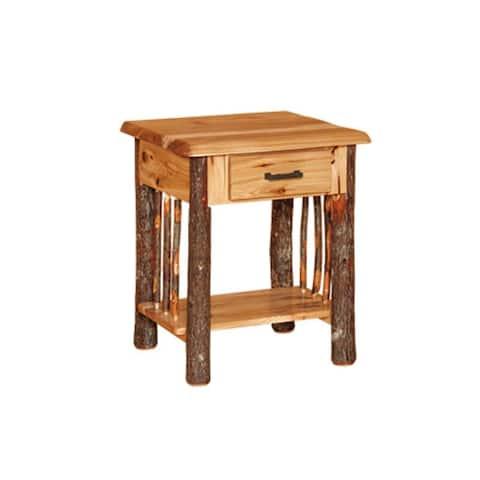 Hickory Log Nightstand with Drawer