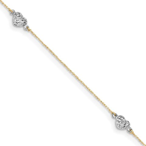 """14k Two-tone Puff Heart Anklet, 10"""" w/1in Extender"""