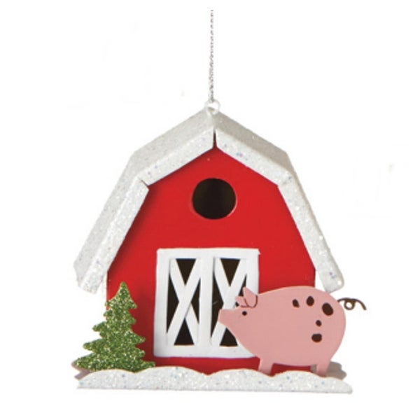 "3.5"" Down on the Farm Red Barn with Pig Glitter Embellished Christmas Ornament"