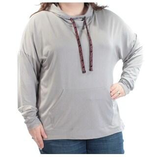 MATERIAL GIRL $37 Womens New 1595 Gray Tie Hooded Long Sleeve Top 3X Jr Plus B+B
