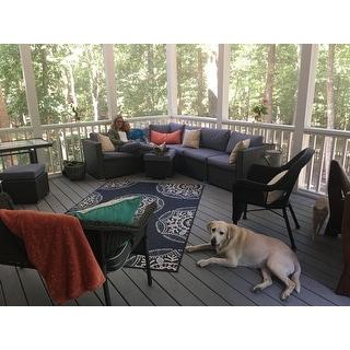 BroyerK Blue/Grey Rattan 10-piece Patio Furniture Set