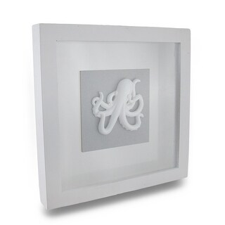 White Oceanic Octopus Shadow Box Wall Hanging