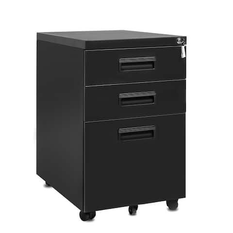 3-Drawer Mobile Metal File Cabinet with 2 Stationery & 1 File Drawers