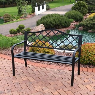 Sunnydaze 50 Inch Outdoor Black Cast Iron Lattice Patio Garden Bench
