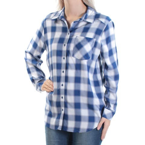 KENSIE Womens Blue Pocketed Plaid Cuffed Collared Button Up Top Size: S
