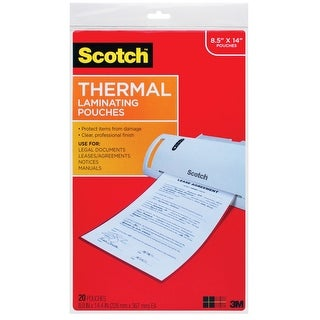Scotch Laminating Pouch, 8-9/10 x 14-2/5 Inches, Clear, 3 mil Thick, Pack of 20