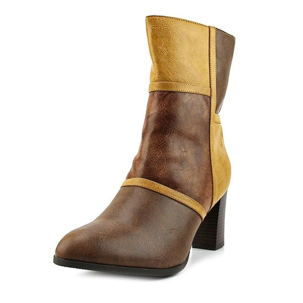 New York Transit Must To Do Women Round Toe Synthetic Brown Mid Calf Boot